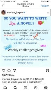 Marian Keyes - instagram announcement